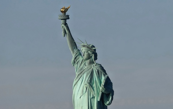 Фото обои статуя, statue of liberty, город, свобода, new york city