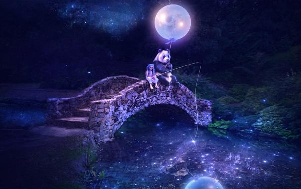 Фото обои ночь, мост, река, панда, девочка, удочка, воздушный шар