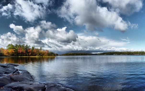 Фото обои осень, небо, вода, деревья, река, камни, природа. пейзаж