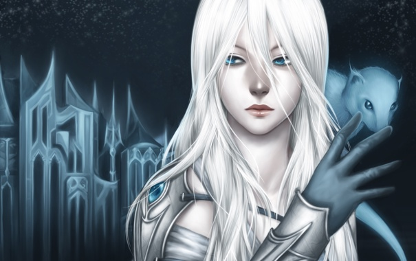 Фото обои звезды, ночь, замок, Девушка, зверек, белые волосы