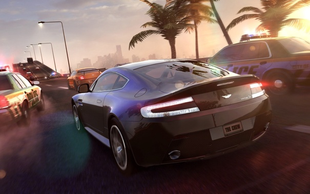 Фото обои солнце, пальмы, Aston, Martin, police, Ubisoft, Game
