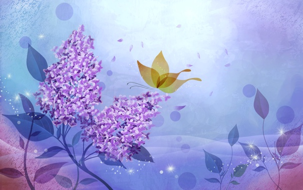 Фото обои цветы, абстракция, бабочка, вектор, сирень, открытка