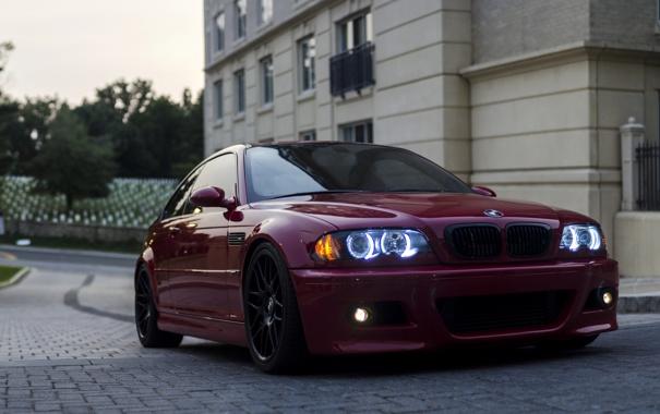Фото обои фары, тюнинг, купе, BMW, red, передок, e46