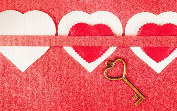 Фото обои сердца, ключ, картон