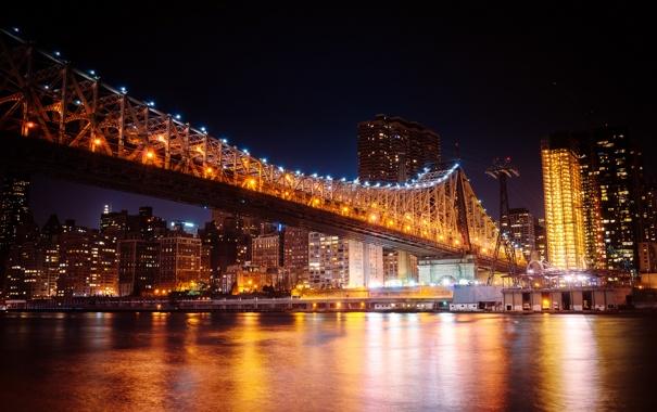Фото обои свет, город, огни, отражение, река, здания, дома