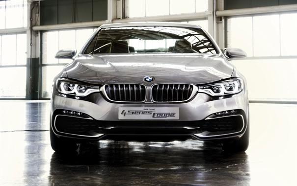 Фото обои Concept, BMW, Машина, Лого, Решетка, Серый, Фары