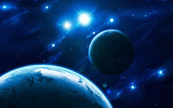 Фото обои звезды, луна, блеск, планеты, кольца, атмосфера, созвездия