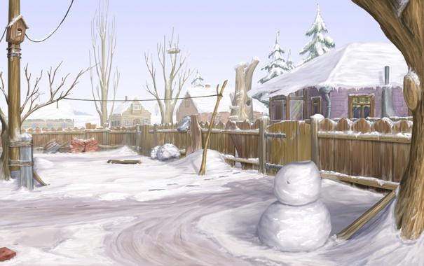 Фото обои зима, снег, деревья, природа, дом, рисунок, забор