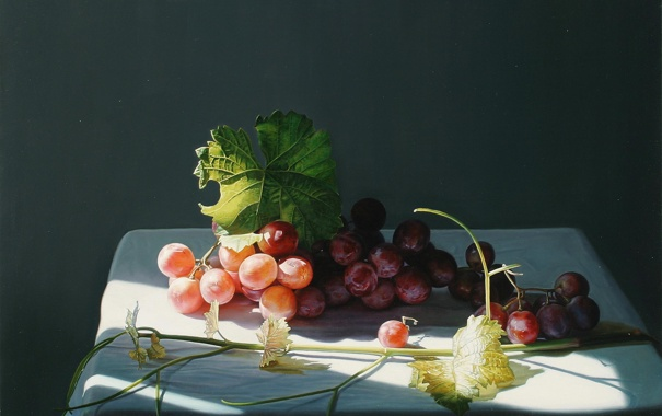 Фото обои виноград, скатерть, тень, натюрморт, ягоды, Yingzhao Liu, арт