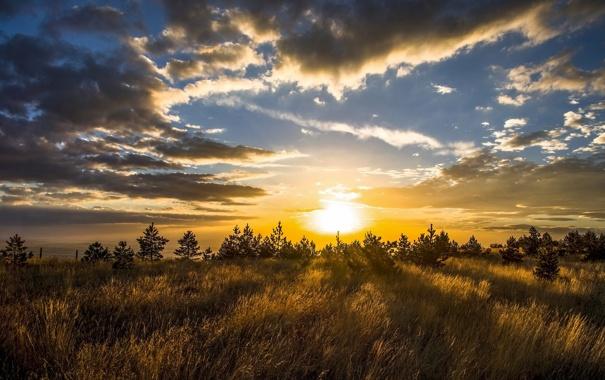Фото обои небо, облака, пейзаж, закат, природа