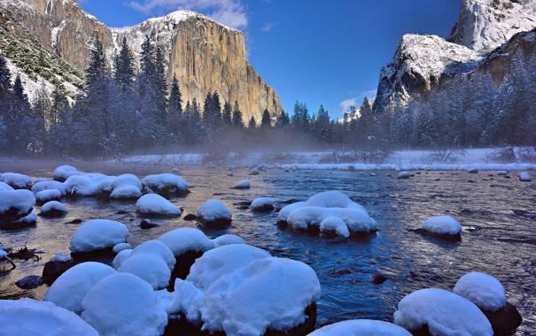 Фото обои зима, лес, снег, горы, река, сша, Национальный парк Йосемити