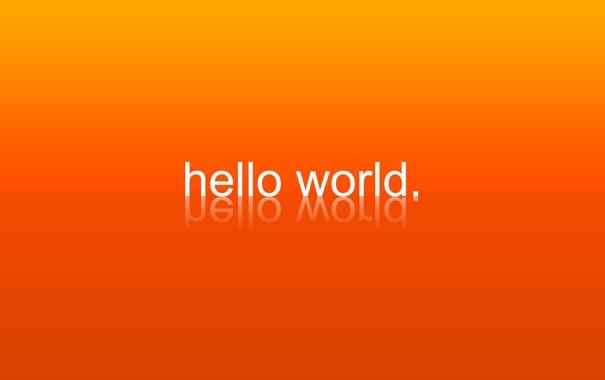 Фото обои отражение, надпись, мир, привет, оранжевый фон