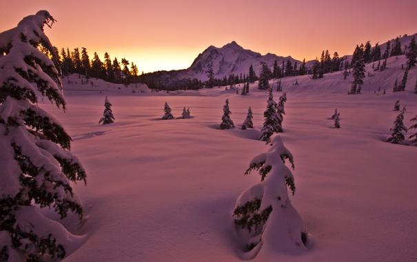Фото обои зима, снег, горы, природа, вечер