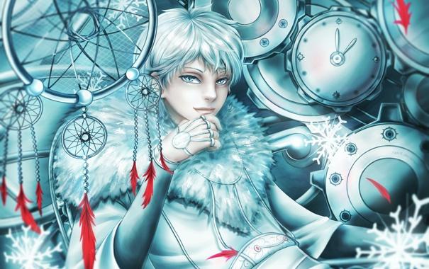 Фото обои механизм, перья, арт, ловушка, парень, белые волосы, снов