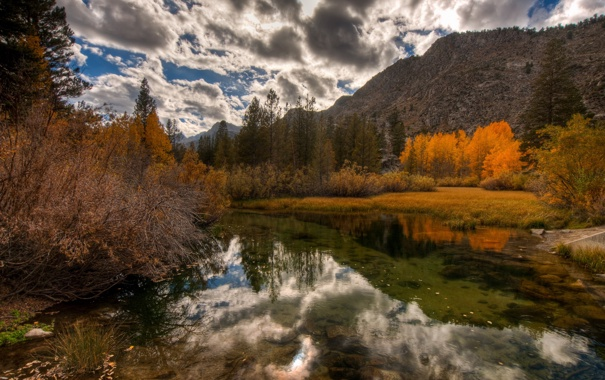 Фото обои Fall, Colors, HDR, Yosemite, California, Bishop, Eastern Sierra