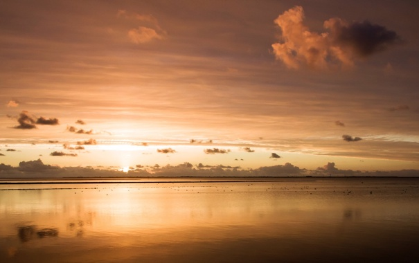 Фото обои море, закат, вечер