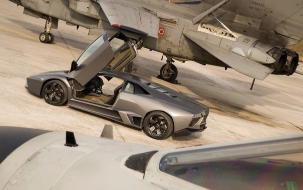 Фото обои Lamborghini, истребитель, reventon, открытые двери, Ламборгини, ламбо двери, Ревентон