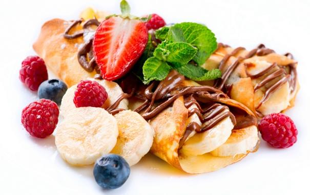 Фото обои малина, шоколад, клубника, банан, мята, chocolate, sweet