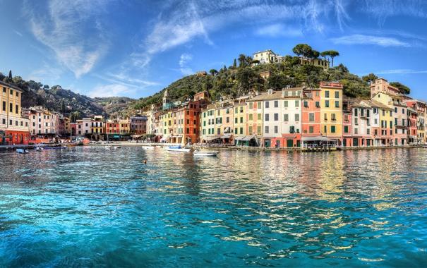 Фото обои море, здания, Италия, Italy, Лигурийское море, Портофино, Portofino