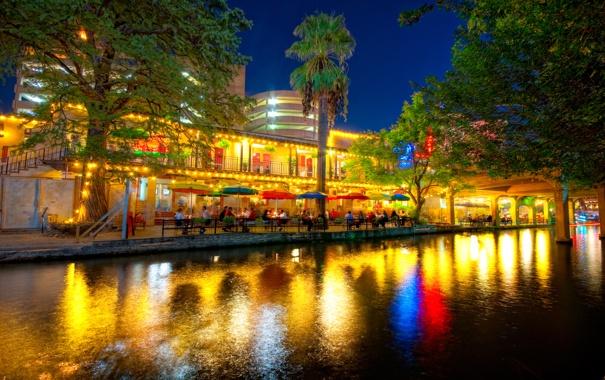 Фото обои ночь, night, usa, Texas, Техас, San Antonio, Сан-Антонио