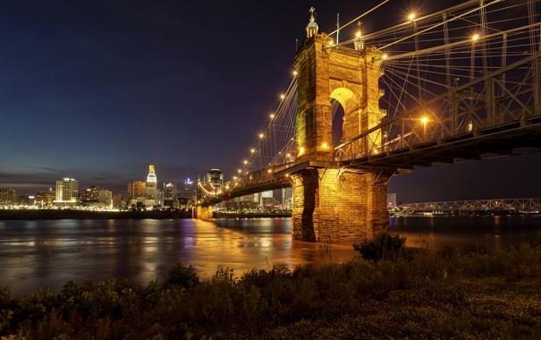 Фото обои ночь, мост, город, огни, река, небоскребы, освещение
