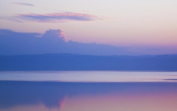 Фото обои фиолетовый, небо, вода, облака, пейзаж, горы, природа