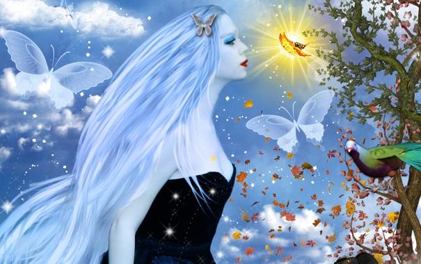 Фото обои небо, листья, девушка, облака, бабочки, природа, лицо