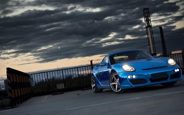Фото обои Porsche, Cayman, суперкар, Blue, tuning, передок, Chrome