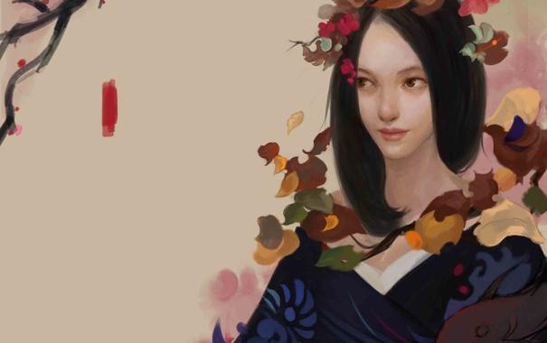Фото обои девушка, цветы, фон, рыба, арт