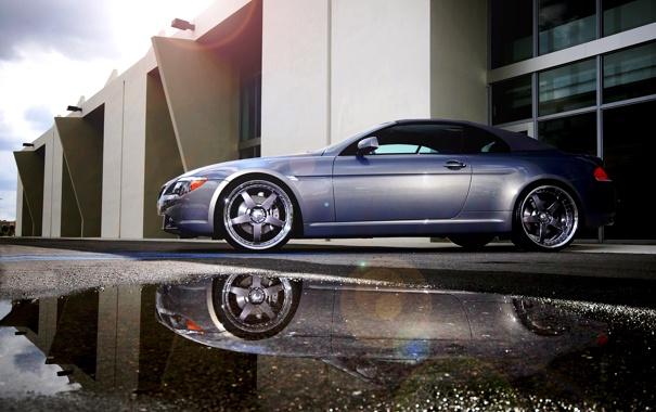 Фото обои вода, BMW, лужа, лужи, авто обои, 645, Forged Championship 5