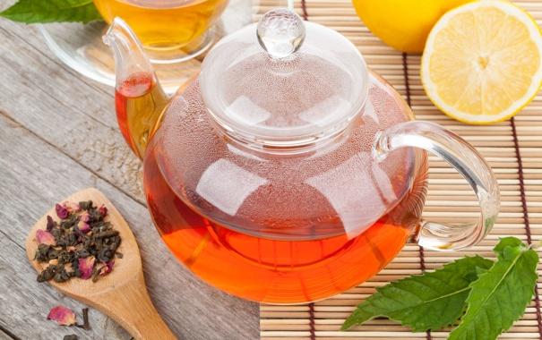 Фото обои листья, лимон, чай, чайник, заварка, циновка