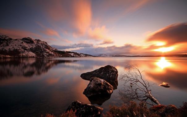 Фото обои пейзаж, закат, природа, озеро, камни