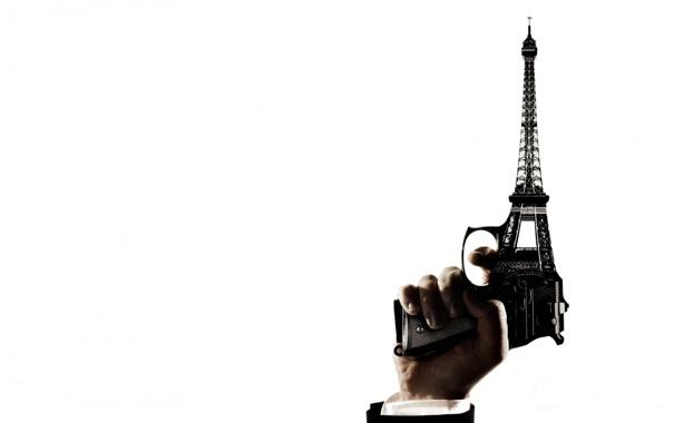 Фото обои башня, рука, парижа, любовью