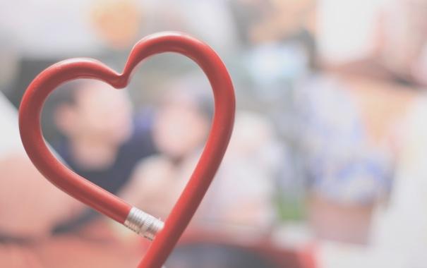 Фото обои любовь, фон, красное, настроения, сердце, красиво, карандаш