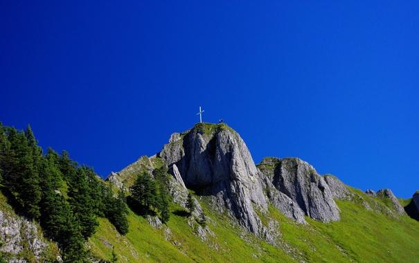 Фото обои небо, трава, люди, гора, крест, Германия, Швангау