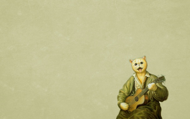 Фото обои кот, гитара, живопись, сидит, играет