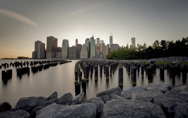 Фото обои HDR, Manhattan, New York City, Long Exposure, Brooklyn Bridge Park, Piers