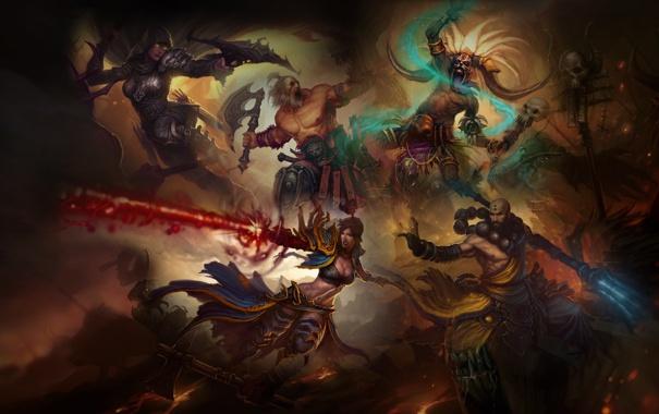 Фото обои арт, монах, Diablo 3, варвар, шаман, demon hunter, охотник на демонов