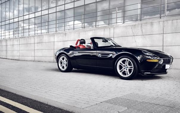 Фото обои черный, здание, бмв, BMW, родстер, автомобиль