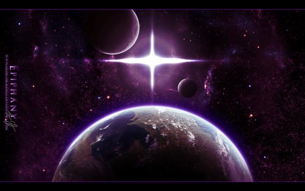 Фото обои космос, звезды, свет, планеты, крест