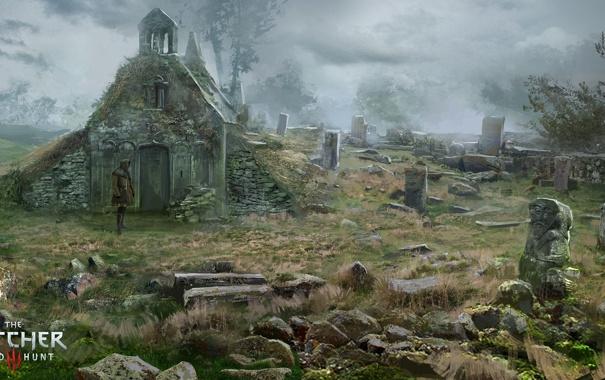 Фото обои кладбище, ведьмак, пустош, The Witcher 3: Wild Hunt