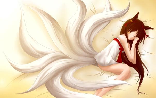 Фото обои взгляд, девушка, сон, постель, лежит, ушки, art