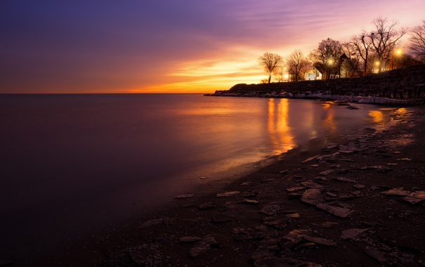 Фото обои США, пляж, Chicago, набережная, Иллиноис, вечер