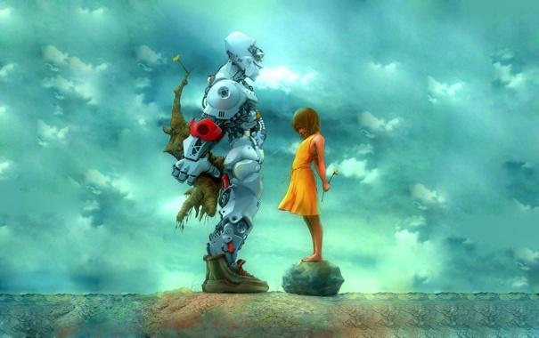 Фото обои робот, девочка, подарки