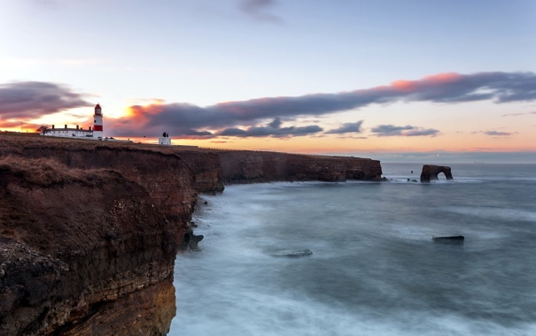 Фото обои море, пейзаж, закат, маяк