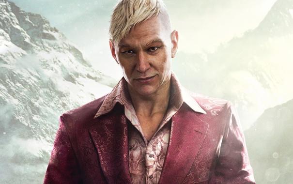 Фото обои Горы, Взгляд, Снег, Ubisoft, Злодей, Far Cry 4, Паган Мин
