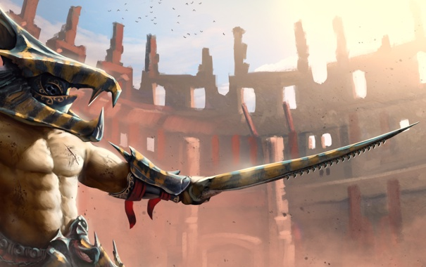 Фото обои меч, воин, шлем, щит, арена, колизей, gladiator