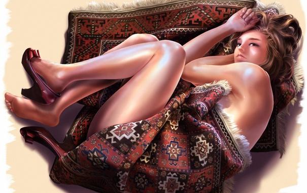 Фото обои девушка, узор, ковёр, арт, туфли, бахрома, aalge