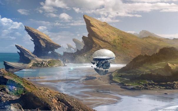 Фото обои море, небо, космос, горы, будущее, фантастика, скалы