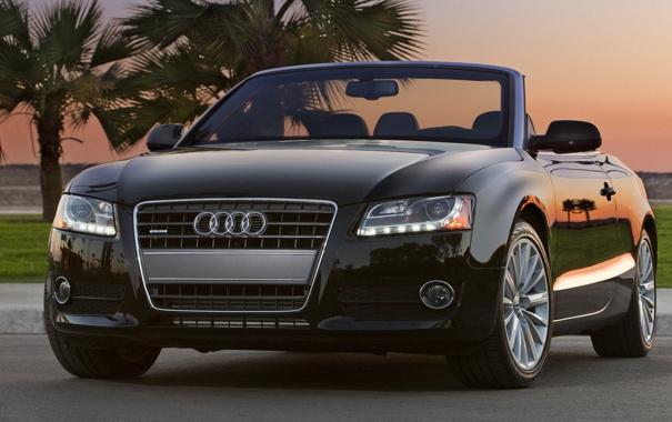 Фото обои закат, пальмы, кабриолет, Audi a5